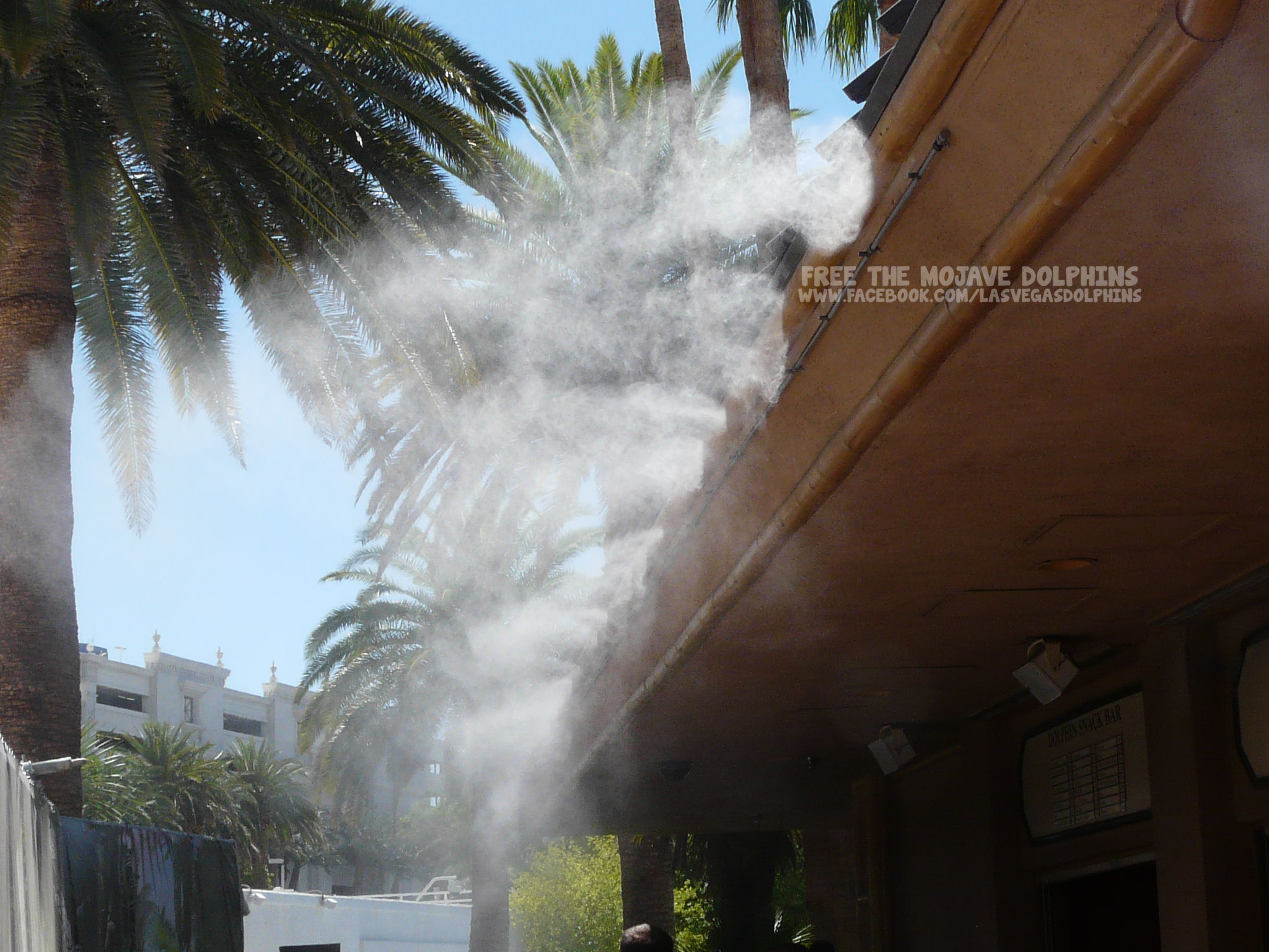 Misters near the snack bar offer brief relief from sweltering temps.